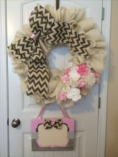 Baby Girl Birth Announcement Wreath for Hospital door, chevron, pink, burlap. Sewed by hand.