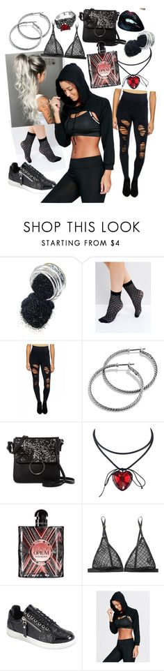 """""""Black Glitter"""" by ailatanami ❤ liked on Polyvore featuring ASOS, David Yurman, T-shirt & Jeans, Yves Saint Laurent, Le Petit Trou and Forever Link"""