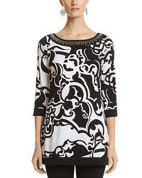 Embellished Neck Print Tunic #whbm This tunic with leggings are also great for cool Spring temperatures. Added bonus being the colors, black and white are great year around!