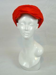 1970s Coral Orange Newsboy hat by KrisVintageClothing on Etsy