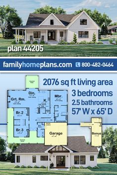 A one story country style house plan with an inviting wrap around porch that extends down the right side of the home. The floor plan is open with cathedral ceilings and a split bedroom layout. The 2 car garage offers access through a mud room. A large bonus room, over the garage, provides approximately 300 square feet of future space or storage area. This country home has great curb appeal and will make a wonderful family home plan. Southern House Plans, Family House Plans, Country Style House Plans, Cottage House Plans, Country Style Homes, French Country House, Cottage Homes, House Floor Plans, Farmhouse Style