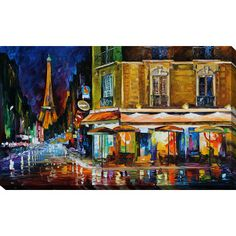 "PicturePerfectInternational ""Paris Recruitement Cafe"" by Leonid Afremov Painting Print on Wrapped Canvas Size: 24"" H x 40"" W x 1"" D"