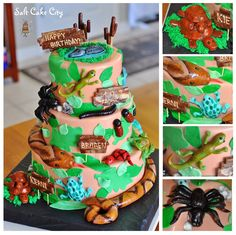 Salt Cake City (www.SaltCakeCity.com) creepy crawling snakes, reptiles, spiders, frogs, and bugs birthday cake