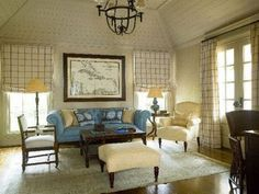 Phoebe Howard, blue and white living room, blue sofa, wood plank ceiling, wood floor. Formal Living Rooms, Living Spaces, Drapes And Blinds, Pleated Curtains, Drapery Panels, Roman Blinds, Relaxation Room, Family Room Design, Family Rooms