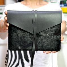 Handmade Black Leather MacBook Air 13' Case/Holster /Cover/Bag/ Envelope Bag