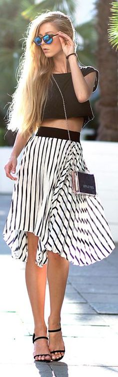 Choies Black And White Stripe Pleated High Waisted Skater Skirt by Sirma Markova