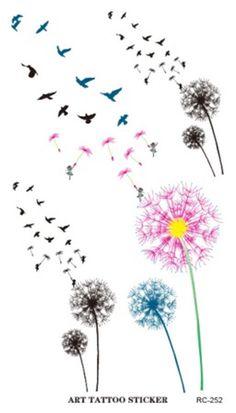 Cheap tattoo sticker, Buy Quality fake tattoos stickers directly from China waterproof tattoo sticker Suppliers: New Waterproof Tattoo Sticker Colored Dandelion Birds Flying Temporary Tattoo Foil Decal Body Art Fake Tattoo Sticker Wholesale Fake Tattoos, Pretty Tattoos, Flower Tattoos, Body Art Tattoos, Small Tattoos, Cross Tattoos, Quote Tattoos, Mom Tattoos, Tattos