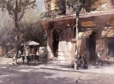 "Vladislav Yeliseyev's Instagram photo: ""From photo to painting #watercolor #watercolor #watercolorpainting #aquarelle #watercolour__artists #bestwatercolor #watercolor_daily…"" Alleyway, Watercolor Paintings, Watercolors, Urban, Street, Modern, Outdoor, Barcelona, Instagram"