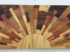 Hello, welcome to Stains and Grains!  Size: 35x 11.5   This gorgeous piece of wooden wall art is continuing my sunrise series with this new palette dedicated to more natural, muted stain colors. I usually include lots of bold bright colors, people were telling me they really liked the pieces that had lots of the more natural tones, so thats what I did here.  The grain in this wood wall art is really something to behold, running underneath the cuts and colors. Check out the knots and swirls…