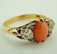 Origina Victorian Coral, Antique Cut Diamond & Yellow Gold Ring