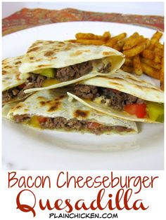 Bacon Cheeseburger Quesadillas - all the flavors of a bacon cheeseburger in a quesadilla! Can use ground turkey, turkey bacon and…