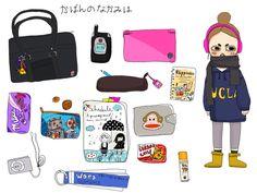 "What's in my bag meme, drawn by Missalopette"" What In My Bag, What's In Your Bag, Drawing Bag, Bag Illustration, Kawaii Chibi, Character Development, Girl Wallpaper, Meet The Artist, Aesthetic Art"