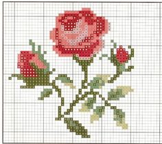 Rose cross stitch chart.
