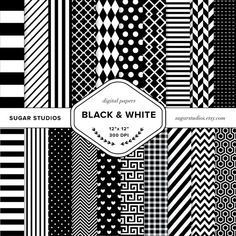 Black and White 20 Piece Digital Scrapbook Paper by sugarstudios $3.99