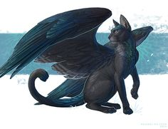 Kyte by AlsaresLynx on DeviantArt Mythical Creatures Art, Mystical Animals, Mythological Creatures, Magical Creatures, Mystical Creatures Drawings, Fantasy Beasts, Fantasy Art, Shadow Creatures, Dragon Cat