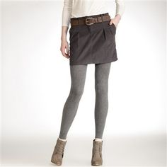 leggings outfit ideas | Cord Skirt over leggings with ankle boots | Outfit Ideas from Basics