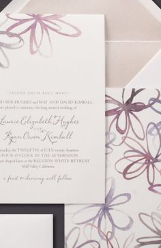Our Watercolor Blossoms invitation is shown in detail her, thermograph printed in mushroom ink.