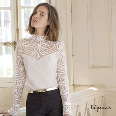 New Collection I Anne Fontaine I Precious Collection I REGENCE blouse is truly a work of art - this Victorian style silk blouse features intricate embroidery made from silk ribbon, long sleeve open tulip cuffs and embroidered open yoke. Style Parisienne, Casual Outfits, Fashion Outfits, Beautiful Blouses, White Shirts, Parisian Style, Lace Tops, Victorian Fashion, Star Fashion