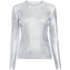 Carven - Metallic Ribbed Sweater ($390) ❤ liked on Polyvore featuring tops, sweaters, rib top, silver sweater, silver metallic sweater, metallic top and ribbed sweater