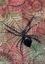 #Zentangle #Spider Black Widow ACEO ART #Halloween Flowers Fall Watercolors Goeben