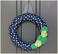 Ribbon Wrapped Wreath in NAVY & GREEN. Navy by SweetGeorgiaSweet, $20.00
