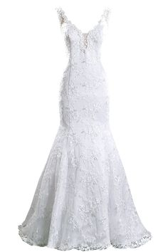 Sexy Lace Embroidery Mermaid Bridal Wedding Dresses http://www.ikmdresses.com/Sexy-Lace-Embroidery-Mermaid-Bridal-Wedding-Dresses-p88160