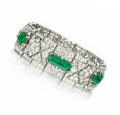 An Art Deco Emerald and Diamond Bracelet, circa 1925. Via FD Gallery, www.fd-inspired.com
