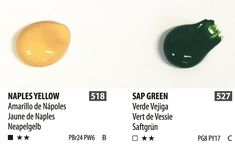 ShinHan Professional Acrylic Colors Naples Yellow is opaque and Sap Green is transparent. An example of how two acrylic colors can differ with transparency and opacity. See our wash posts for more information..  www.shinhanart.com Acrylic Colors, Paint Colors, Naples, Chart, Posts, Yellow, Green, Paint Colours, Messages