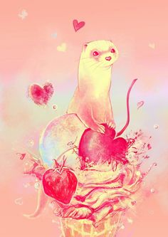 Ferret love OMG I want this as a tattoo!!