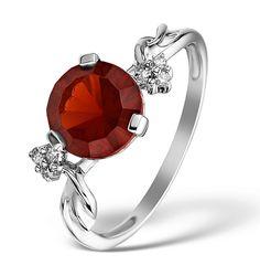 2.29ct Garnet 0.05ct Diamond and 9K White Gold Ring -  E5932. #thediamondstoreuk #garnet #birthstone #ring #January