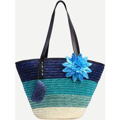 SheIn(sheinside) Blue Ombre Flower Embellished Straw Shopper Bag (£13) ❤ liked on Polyvore featuring bags, handbags, tote bags, shein, blue, white purse, white handbags, shopping bag, straw handbags and straw tote bags