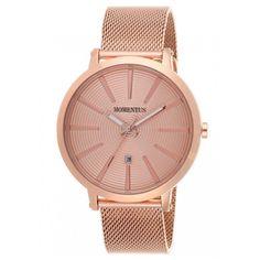 Momentus EM138R-12SR Men's Elegance Rose Gold Dial Rose Gold Plated Steel Mesh Bracelet Watch