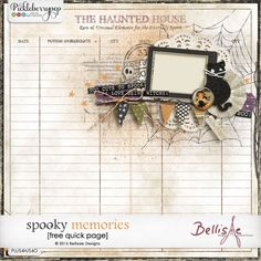 SPOOKY MEMORIES | free quick page by Bellisae Desings http://www.bellisaedesigns.com/spooky-memories-freebie-and-more/