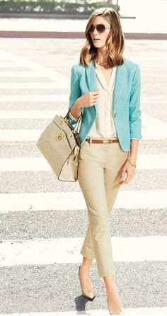 Summer office style--wear lighter colors. tabithadumas.com image consultant