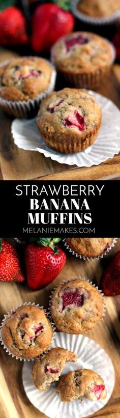 There's nothing better than one of these Strawberry Banana Muffins to begin your day. A moist and fluffy banana muffin is bedazzled with large pieces of diced strawberries to create a muffin that truly screams spring.