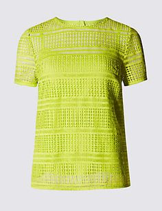 Speziale Geometric Striped Lace Top with Camisole