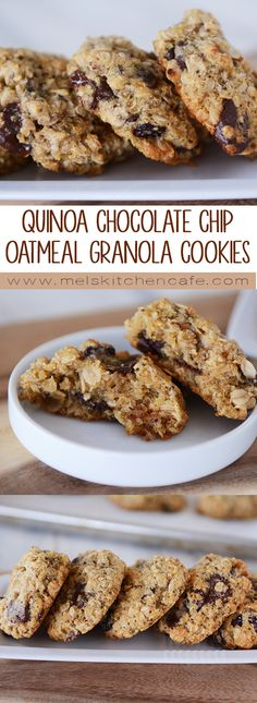 Chocolate Chip Oatmeal Granola Cookies Take soft and delicious chocolate chip cookies to a whole new level with this amazing recipe for chocolate chip cookies loaded with quinoa and oatmeal! Healthy Cookies, Healthy Baking, Healthy Desserts, Delicious Desserts, Quinoa Desserts, Protein Cookies, Raw Desserts, Protein Snacks, High Protein