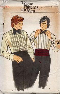Vogue 8889 1970s Mens Tuxedo Shirt Pattern Cummerbund and Bow Tie Adult accessories vintage sewing pattern by mbchills