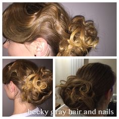 Becky gray hair and nails textured curly bun