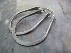 Rustic hoop earrings hand forged thick sterling by PersimmonPearl