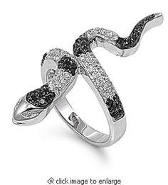 Sterling Silver Black Striped Snake CZ Ring