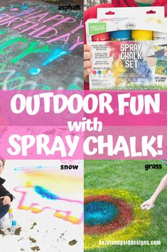 Have you ever tried spray chalk? Check out my post on all the details of using Testors Spray Chalk on different outdoor surfaces, from grass and asphalt to snow! Our family had a blast using this and we know you'll love it too! #testorsspraychalk #spraychalk #crafting #chalkart #chalk #sidewalkchalk
