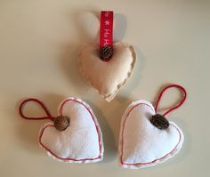 A personal favourite from my Etsy shop https://www.etsy.com/uk/listing/255036470/set-of-3-heart-christmas-decorations