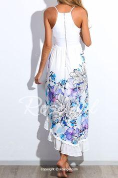 Alluring Spaghetti Strap Sleeveless Floral Print Low Cut Women's Dress