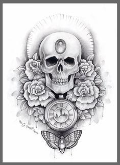 Skull, watch and moth thigh tattoo design by ~kirstynoelledavies on deviantART