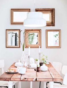 idée déco salle à manger - ensemble d'herbiers en cadres de couleur cuivre en tant que déco murale