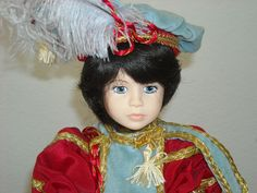 This is the Famous Couple Romeo and Juliet. Designed by Robin Woods from her. full sleeves, royal crest on his tunic with black hair. Juliet is dressed in a gorgeous. also trimmed in gold, button shoes and Juliet hairpiece with pearls dangling, ash blonde hair and both have startling blue eyes. | eBay!