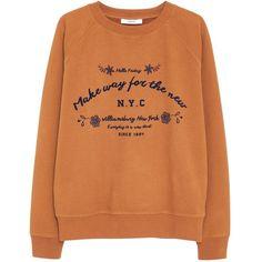 Mango Cotton Printed Message Sweatshirt, Dark Brown ($46) ❤ liked on Polyvore featuring tops, hoodies, sweatshirts, orange top, cotton sweatshirt, long sleeve sweatshirt, crew-neck sweatshirts and mango tops