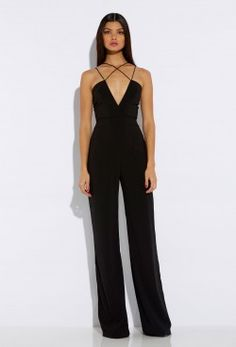2d013b0c92c1 Sane Black Deep V Jumpsuit Bodycon Jumpsuit