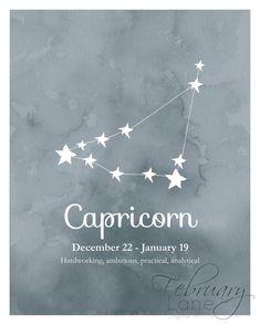 Capricorn Zodiac Constellation Wall Art Printable by FebruaryLane